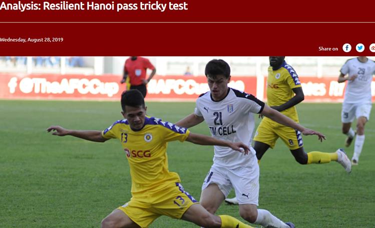 Bài viết trên trang chủ của AFC về Hà Nội. Ảnh chụp màn hình.