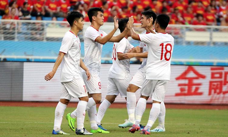 U22 Việt Nam thắng U22 Trung Quốc ngay trên sân khách. Ảnh: VFF.