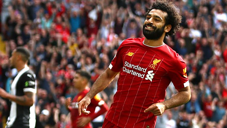 Salah ghi 4 bàn tại Ngoại hạng Anh tính từ đầu mùa. Ảnh: Sky.