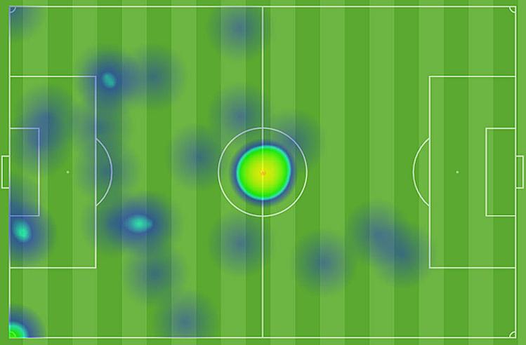 Bản đồ nhiệt của Deulofeu ở trận gặp Man City tuần qua. Ảnh: Marca.