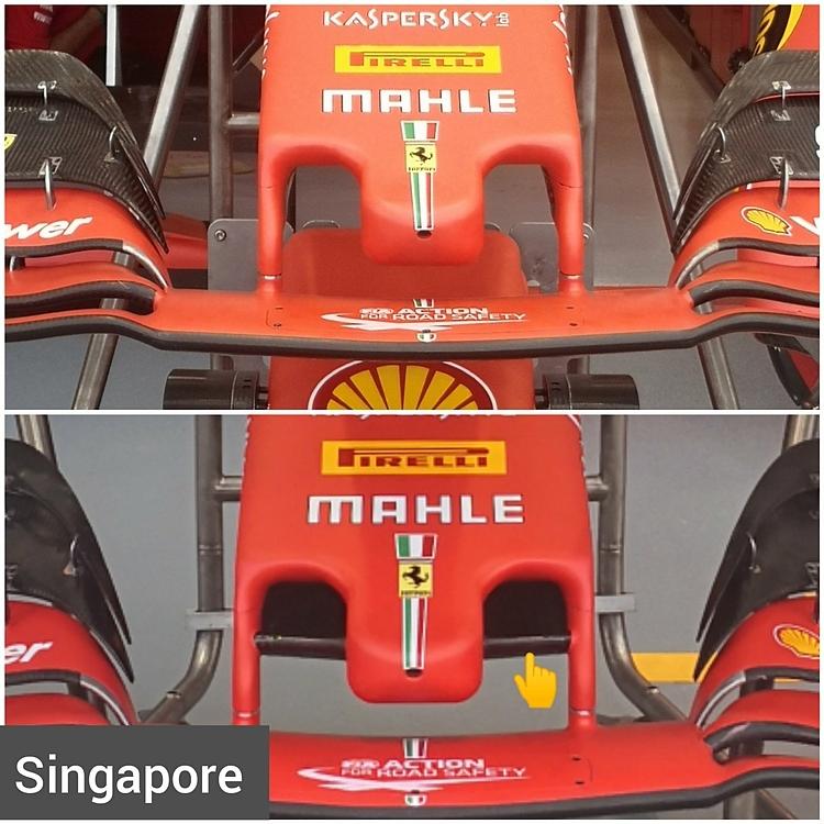 Mũi xe mới của Ferrari tại Singapore (ảnh dưới) so với những chặng đua trước (ảnh trên). Ảnh: Albert Fabrega.