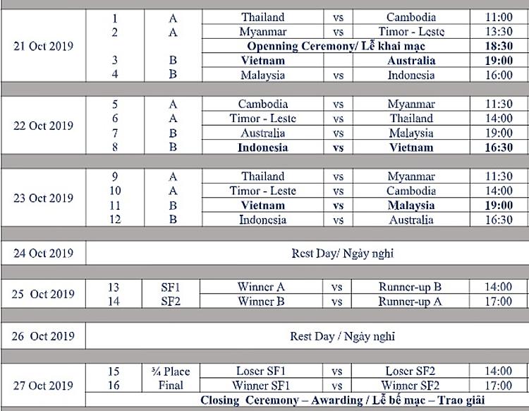 Lịch thi đấu giải vô địch futsal Đông Nam Á 2019.