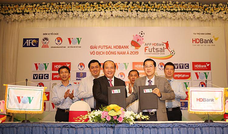 Lễ công bố nhà tài trợ HDBank của giải futsal Đông Nam Á diễn ra hôm qua tại TP HCM.