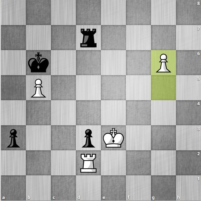 Thực tế Quang Liêm chọn 69...Kb6, cho phép Trắng đẩy tốt xuống g6. Lúc này nhịp phong cấp đã cân bằng giữa tốt đen cột a và tốt trắng cột g.