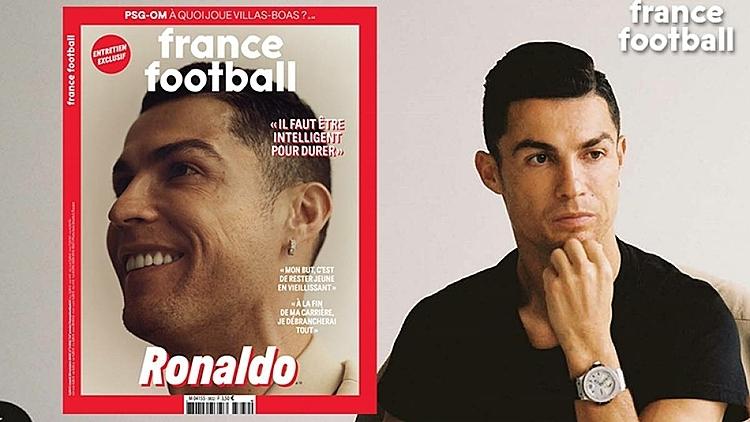 Ronaldo lên trang bìa France Football. Ảnh: AS.