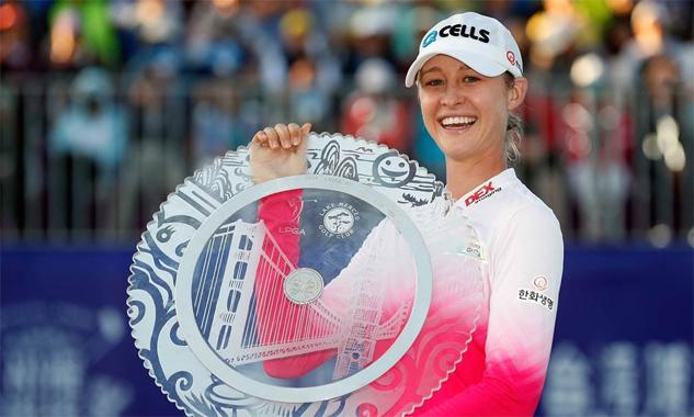 Korda đăng quang ở giải năm ngoái. Ảnh: Reuters.