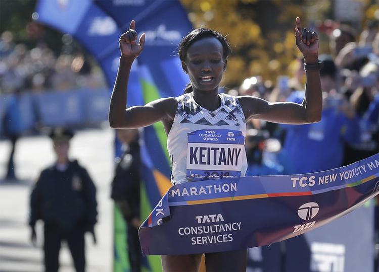 Keitany về nhất ở New York City Marathon 2018. Ảnh: AP.