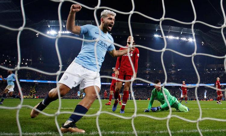 Aguero mừng bàn thắng vào lưới Liverpool hồi tháng 1/2019. Ảnh: Reuters.