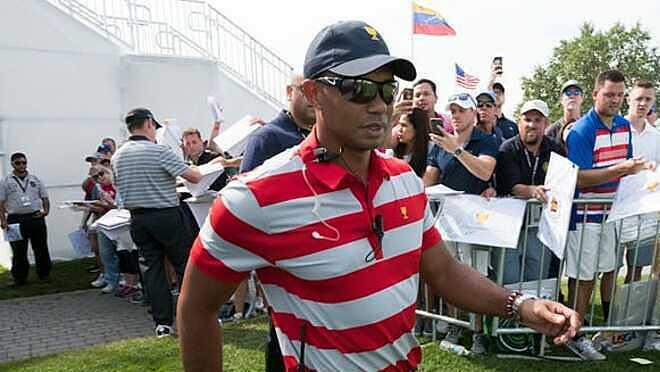 Woods từng là đội phó tại Presidents Cup 2017. Ảnh: USA Today.