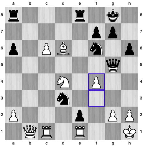 Thế cờ sau32.f3-f4. Trắng đuổi hậu, nhưng tính sót đòn phối hợp doạ chiếu hết của Đen.