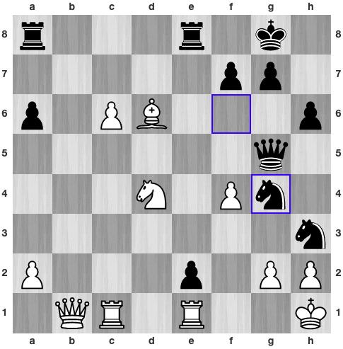 34...Ng4. Quang Liêm đầu hàng ngay lập tức, với nguy cơ bị chiếu hết ở ô f2. Trắng còn có thể chống đỡ bằng Rf1, nhưng sẽ tiếp tục mất nhiều quân khi Đen còn doạ chiếu hết ở hàng một bằng xe e8.