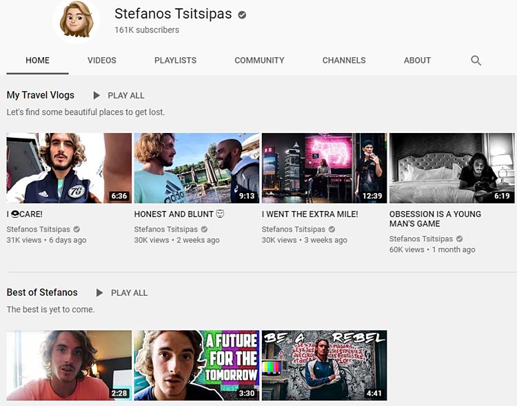 Trang youtube mà Tsitsipas dành rất nhiều thời gian để chăm chút.
