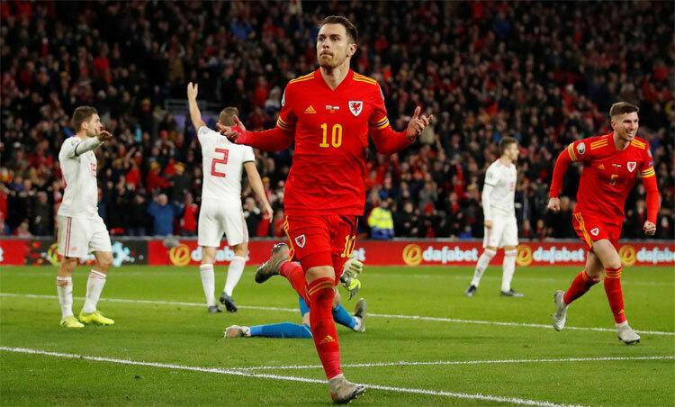 Ramsey tỏa sáng đưa Wales tới Euro. Ảnh: Reuters