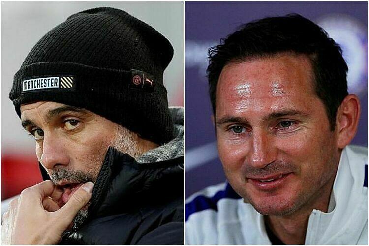 Guardiola (trái) đánh giá cao Lampard. Ảnh: Reuters.