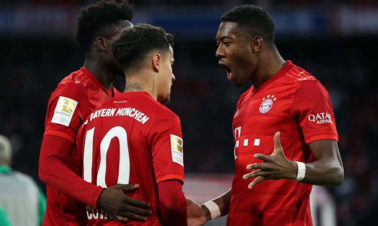 Coutinho (số 10) lập hat-trick đầu tiên trong màu áo Bayern. Ảnh: FC Bayern.