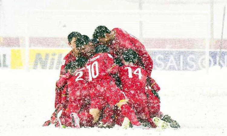 Việt Nam đá chung kết U23 châu Á 2018 tại Thường Châu, Trung Quốc giữa cơn mưa tuyết nặng hạt.