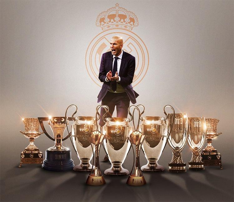 Zidane đoạt ba Cup Champions League, hai FIFA Club World Cup, hai Siêu Cup Tây Ban Nha, hai Siêu Cup châu Âu trong chín lần cùng Real vào chung kết các sân chơi này. Ảnh: Goal.