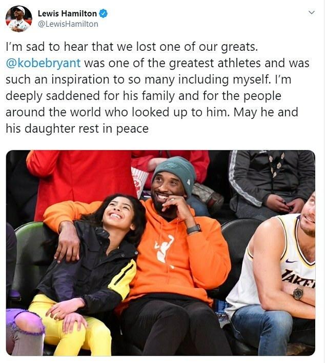 Dòng trạng thái của Hamilton về Kobe và con gái Gianna.
