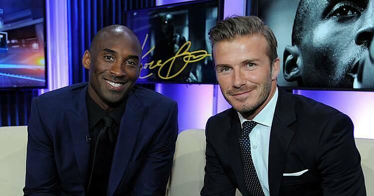 Beckham (phải) từng chơi thân với Bryant khi chơi bóng tại Mỹ. Ảnh: MLS.