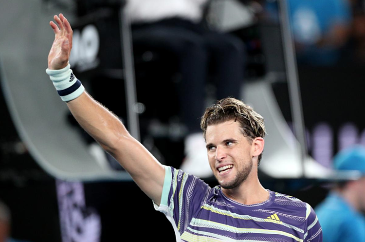 Thiem phấn khích với chiến thắng đầu tay trước Nadal tại một giải Grand Slam. Ảnh: Reuters.