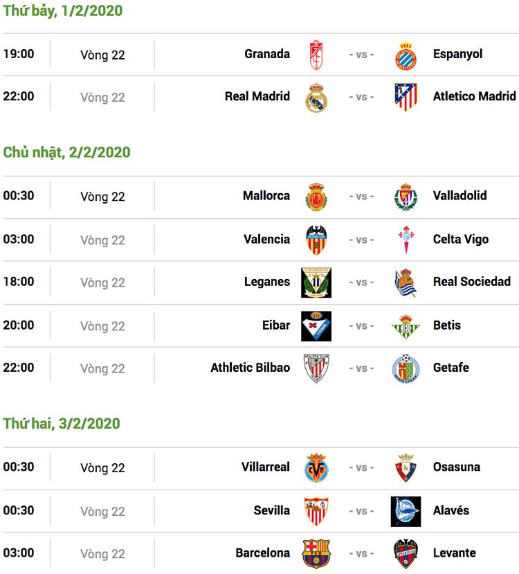 Xem chi tiết: Lịch thi đấu/Bảng điểm La Liga