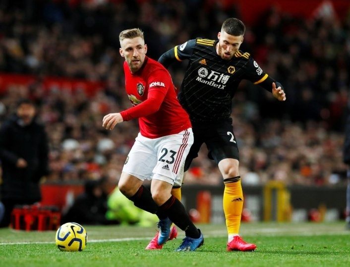 Luke Shaw (trái) trong trận hòa Wolves 0-0. Ảnh: Reuters.