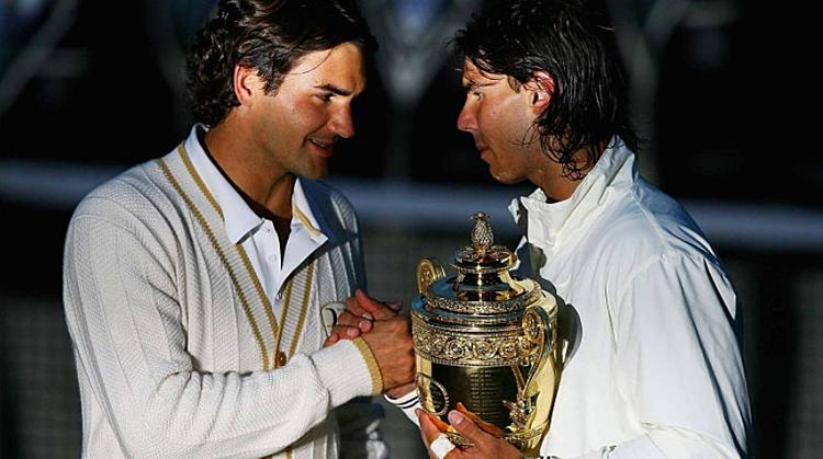 Trận đấu tại Wimbledon 2008 giữa Federer và Nadal vẫn được xem như trận chung kết kinh điển nhất lịch sử. Ảnh: AP.