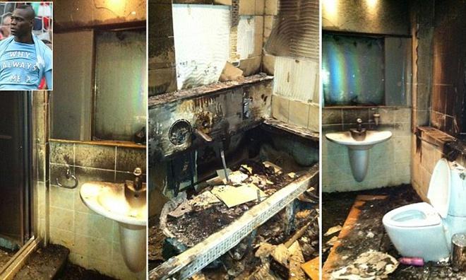 Căn hộ của Balottelli bị cháy sau vụ đốt pháo hoa năm 2011.