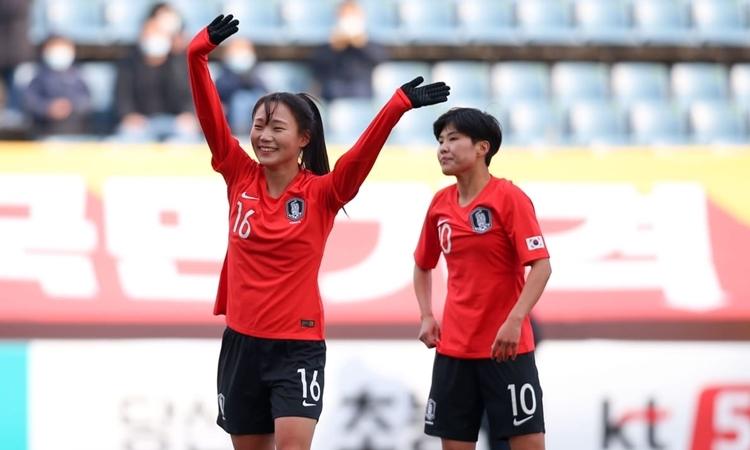 Niềm vui của Jang Sel-gi (trái) sau khi mở tỷ số. Ảnh: AFC.