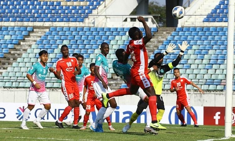 TP HCM chia điểm với Yangon United trong trận đấu hai đội đều bỏ lỡ nhiều cơ hội. Ảnh: Yangon United.