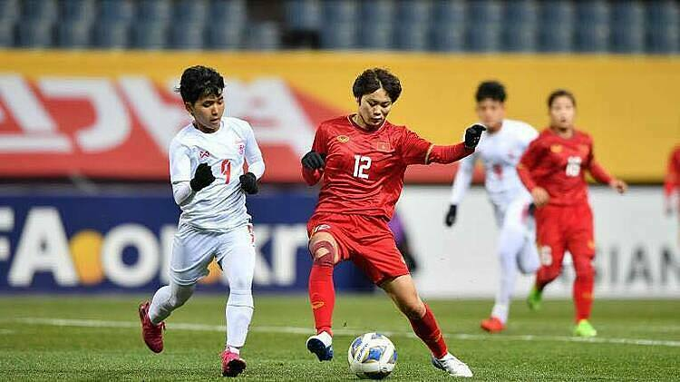 Việt Nam đánh bại Myanmar 1-0 trên sân Jeju, giành vé đá play-off tranh suất dự Olympic 2020 vào ngày 6/2. Ảnh: AFC