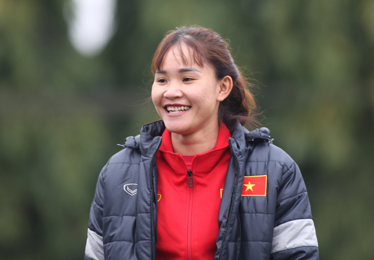 Chương Thị Kiều trong buổi tập chiều 17/2 của tuyển nữ Việt Nam. Ảnh: Minh Dân
