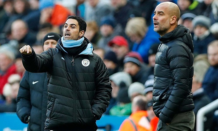 Arteta từng là trợ lý đắc lực của Guardiola tại Man City. Ảnh: AFP.