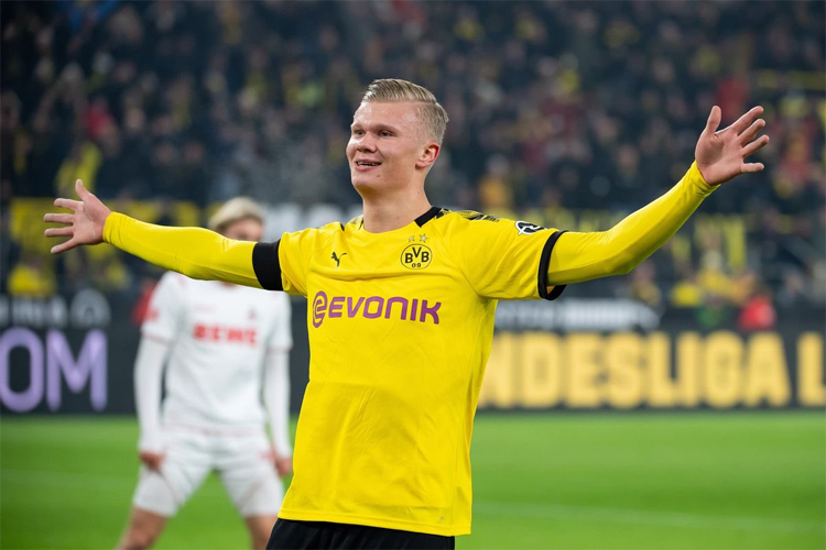 Haaland vừa nhận giải Cầu thủ hay nhất Bundesliga trong tháng 1/2020. Ảnh: Bundesliga.