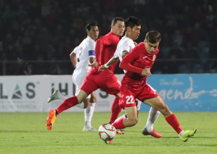 Myanmar chơi dưới sức và để lại nhiều nghi ngờ trong trận thua 0-7 trên sân của Kyrgyzstan. Ảnh: AFC