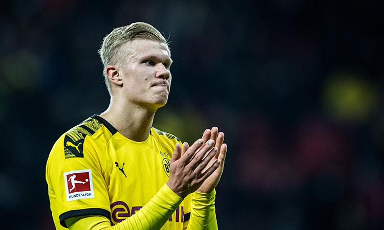 Haaland hiện được định giá 60 triệu euro, cao cấp ba mức 20 triệu mà Dortmund chi ra để tậu anh về hồi tháng Một. Ảnh: DFL.