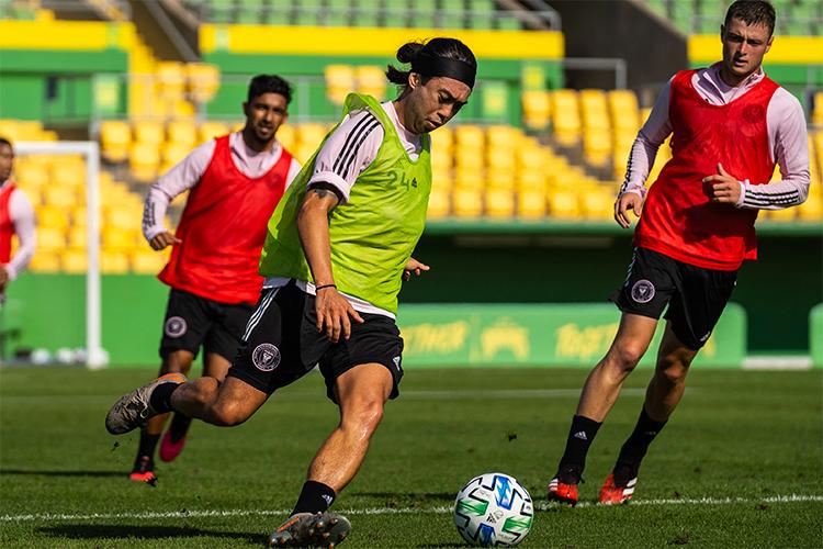 Lee Nguyễn trên sân tập Inter Miami hôm 18/2, chuẩn bị cho MLS 2020. Ảnh: IMFC.