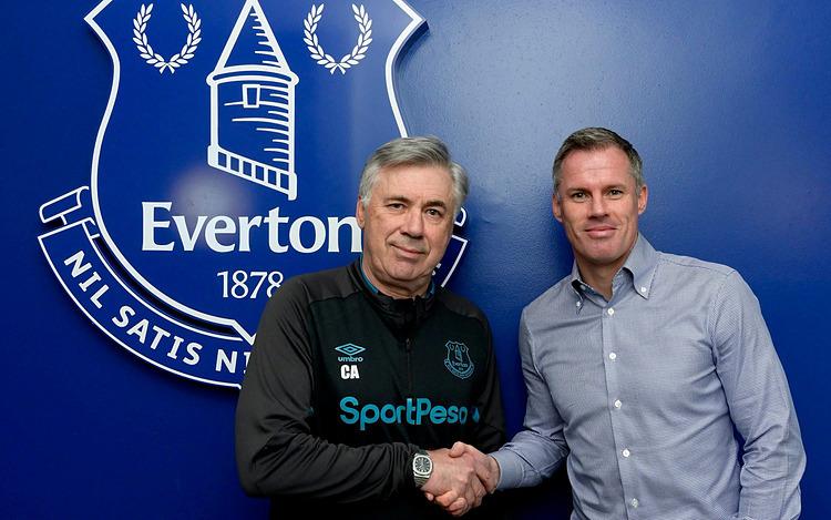 Ancelotti - một trong ba HLV hiếm hoi vô địch Champions League nhiều hơn hai lần - tiếp Jamie Carragher ở đại bản doanh của Everton. Ảnh: Telegraph.
