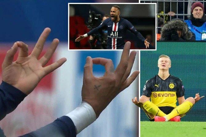 Neymar cũng bắt chước Haaland (phải). Ảnh: Sun Sport.