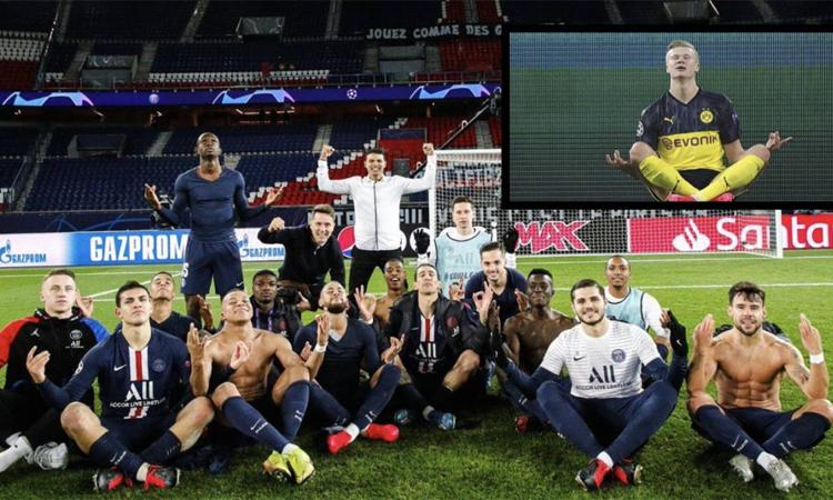 Cầu thủ PSG nhái điệu mừng của Haaland. Ảnh chụp màn hình.