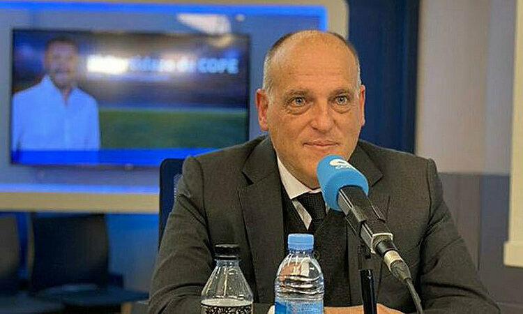 Chủ tịch Tebas quyết không kết thúc La Liga ngay lúc này. Ảnh: Marca.