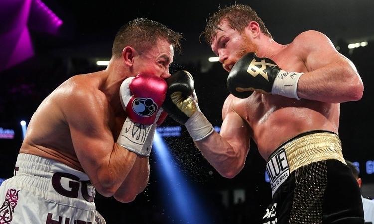 Canelo (phải) và Golovkin đều phải đấu đủ 12 hiệp trong hai trận trước đây. Ảnh: HBO.