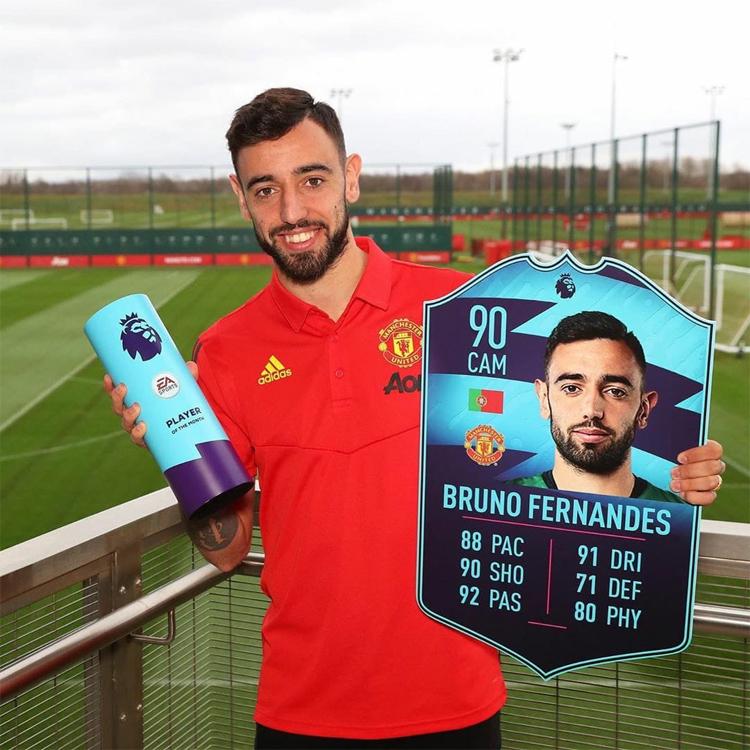 Fernandes nhận giải Cầu thủ hay nhất Ngoại hạng Anh tháng 2/2020. Ảnh: Premier League.