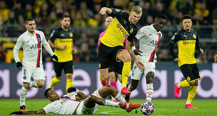 Haaland lập cú đúp trong trận thắng PSG 2-1 ở lượt đi vòng 1/8 Champions League hôm 18/2. Ảnh: BVB.