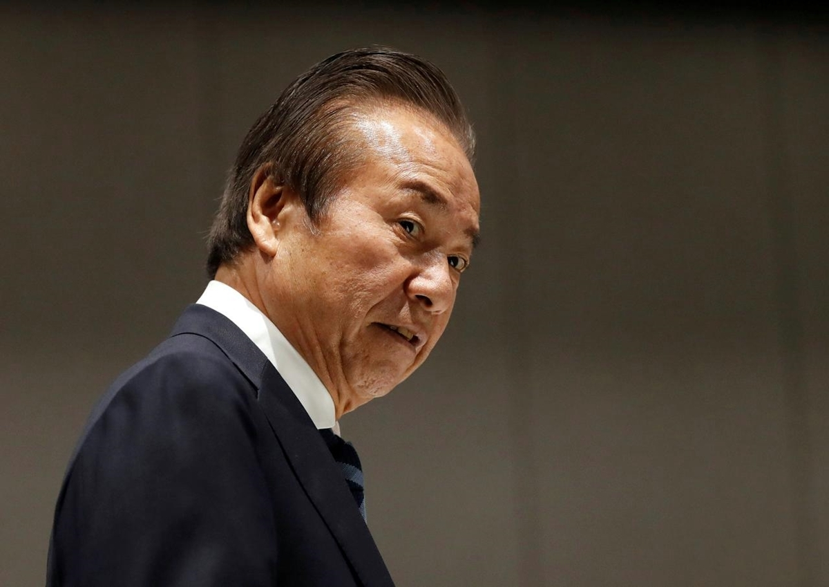 Haruyuki Takahashi, 75 tuổi, dự cuộc họp của Ủy ban điều hành Olympic Tokyo hôm 30/3.