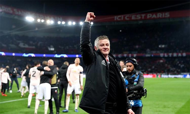 Chiến thắng 3-1 trên sân Parc des Princes, Paris ở lượt về vòng 1/8 Champions League giúp Solskjaer được chọn làm HLV trưởng chính thức của Man Utd. Ảnh: Reuters.